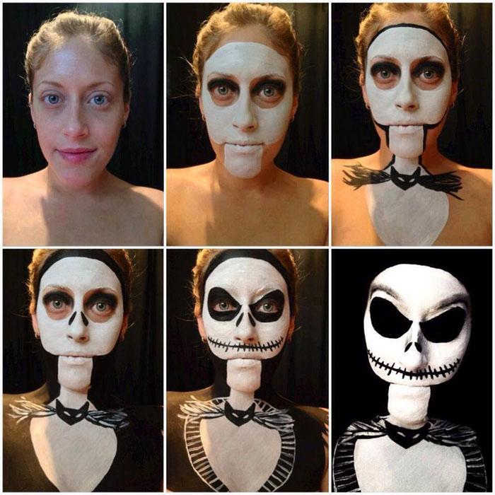 макияж зомби на хэллоуин